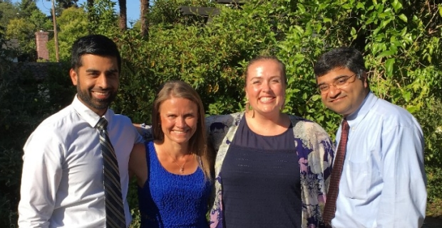 From left to right: Dr. Yassar Arain, Dr. Anna-Kaisa Niemi, Fellowship coordinator Meghan Stawitcke, and Dr. Anoop Rao